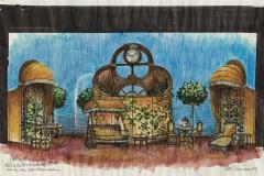 «Chat en poche», dessin du décor créé par Paul Bussières, acte 1 et 21979