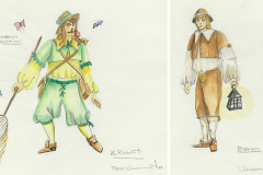 «Le médecin malgré lui», dessin de costumes créés par Denis Denoncourt, © 198