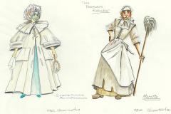 «Les précieuses ridicules», dessins des costumes créés par Denis Denoncourt, © 1981