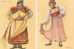 «La mégère apprivoisée»,  dessins de costumes créés par Denis Denoncourt, © 1983