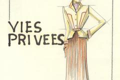 «Vies-privées», dessin de costume créé par Denis Denoncourt, © 1985
