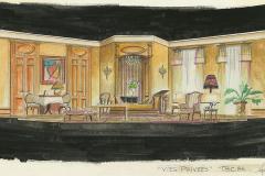 «Vies-privées», dessin du décor créé par Denis Denoncourt, © 1985