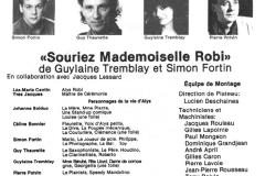«Souriez Mlle Robi», tiré du programme : la distribution, 1987