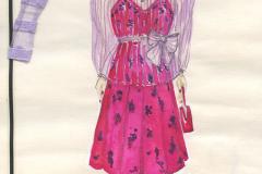 «Les voisins», dessin des costumes créés par Caroline Drouin, 1988