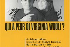 «Qui a peur de Virginia Woolf?» couvert du programme, 1989