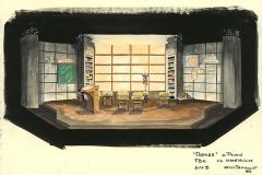 «Topaze»,  dessin du décor créé par Denis Denoncourt, acte 1, © 1989