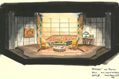 «Topaze»,  dessin du décor créé par Denis Denoncourt, acte 2, © 1989