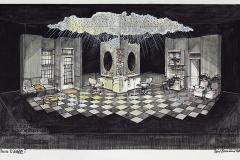 «Fleurs d_acier», dessin du décor créé par Paul Bussières, © collection Paul Bussières, 1990