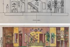 «Ministre à sous-louer», dessins du décor créé par Monique Dion, 1995