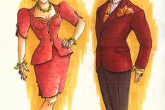 «Ministre à sous-louer», dessin des costumes créés par Luce Pelletier, 1995